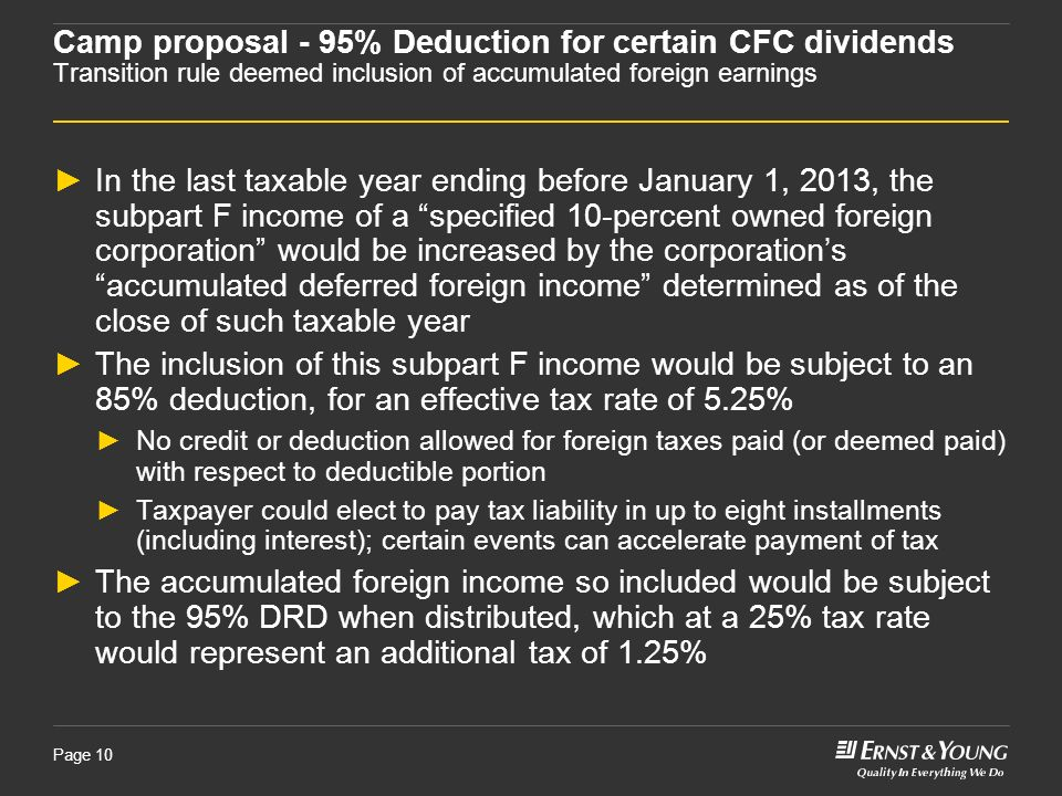 Camp proposal - 95% Deduction for certain CFC dividends Transition rule deemed inclusion of accumulated foreign earnings