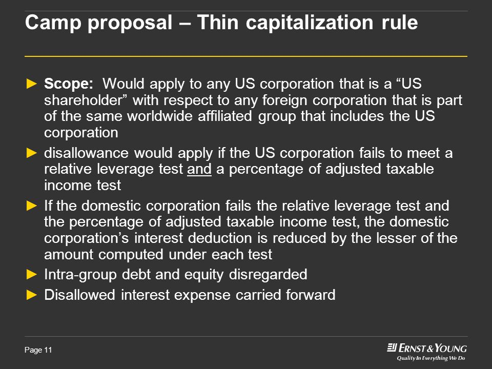 Camp proposal – Thin capitalization rule