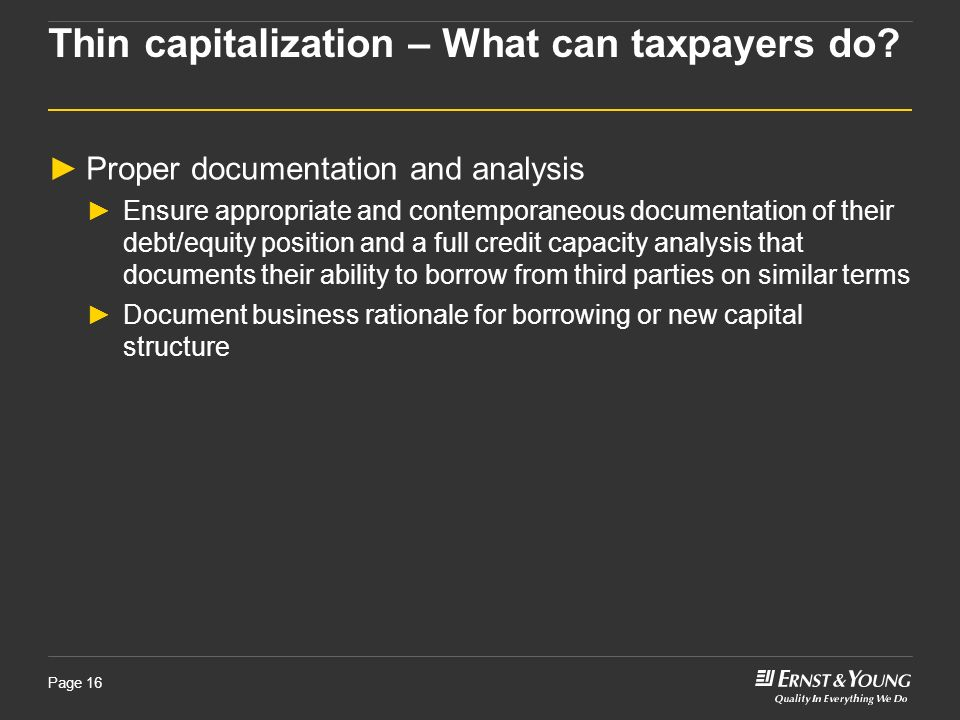 Thin capitalization – What can taxpayers do