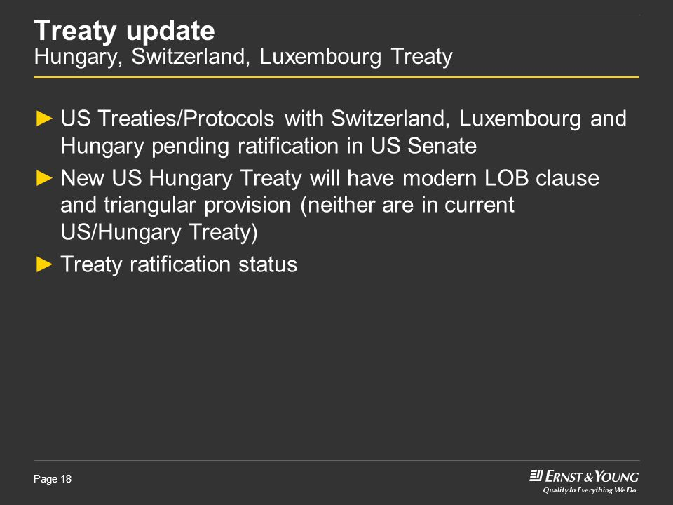 Treaty update Hungary, Switzerland, Luxembourg Treaty