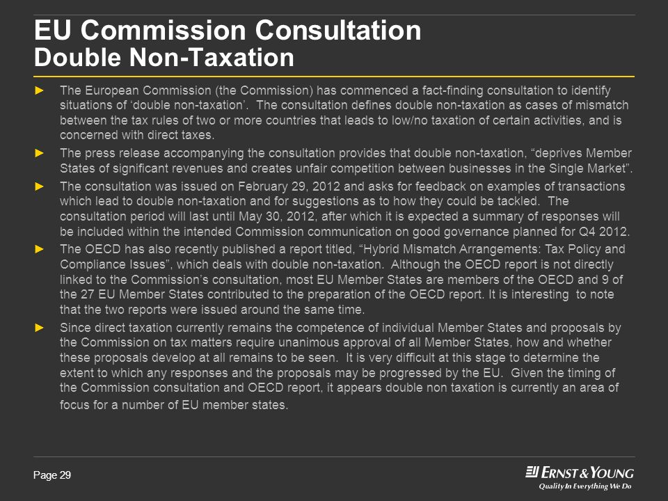 EU Commission Consultation Double Non-Taxation