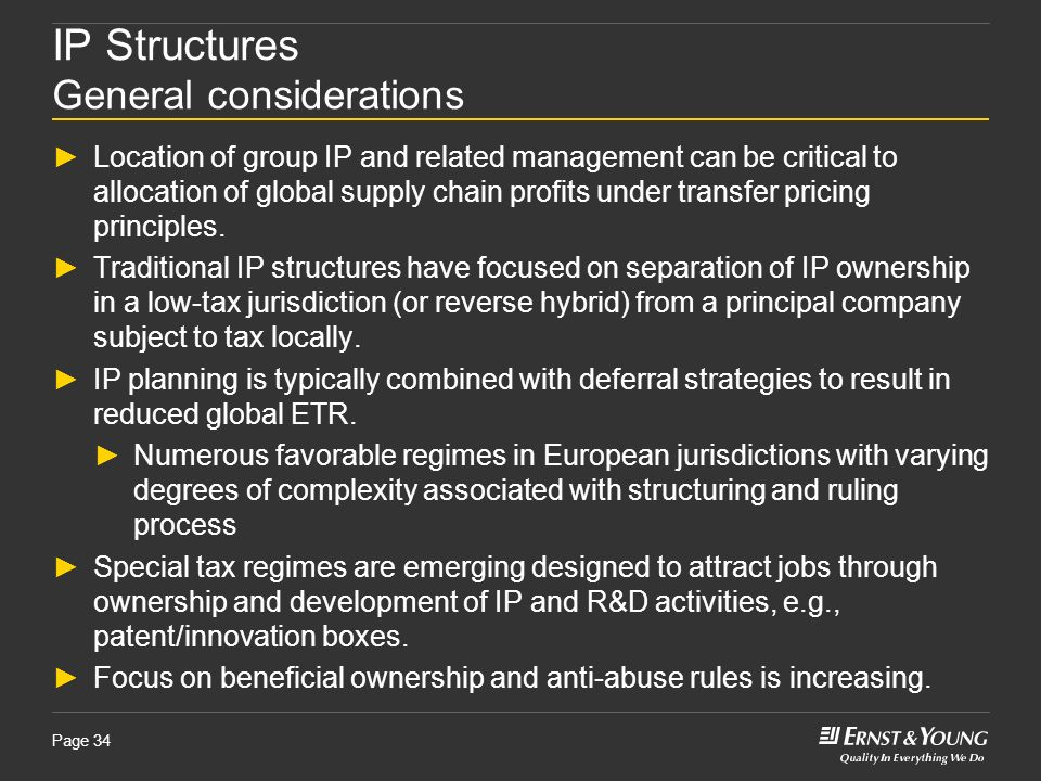 IP Structures General considerations