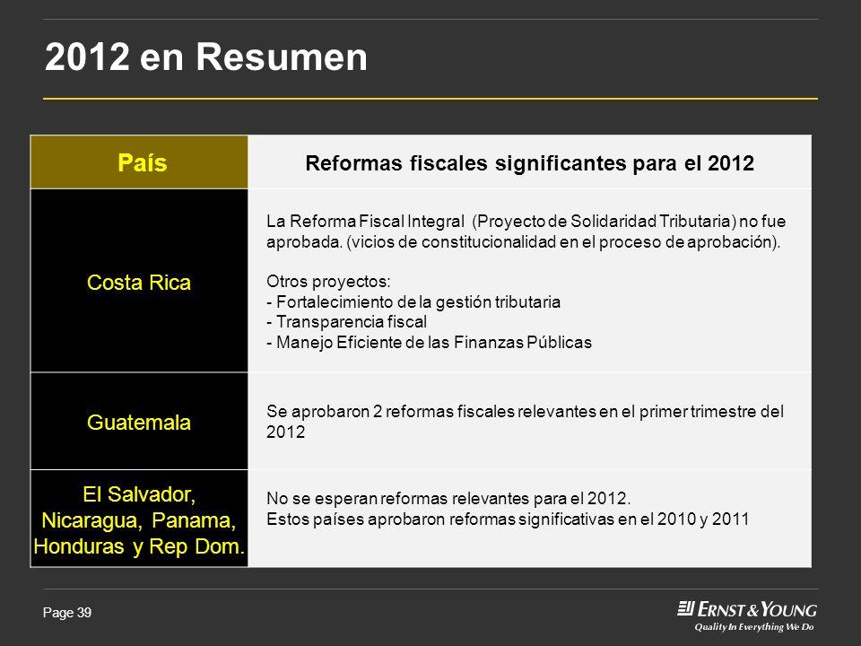 Reformas fiscales significantes para el 2012