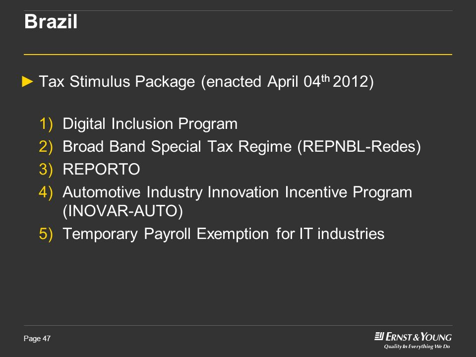 Brazil Tax Stimulus Package (enacted April 04th 2012)