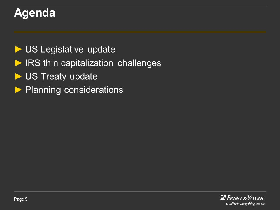 Agenda US Legislative update IRS thin capitalization challenges