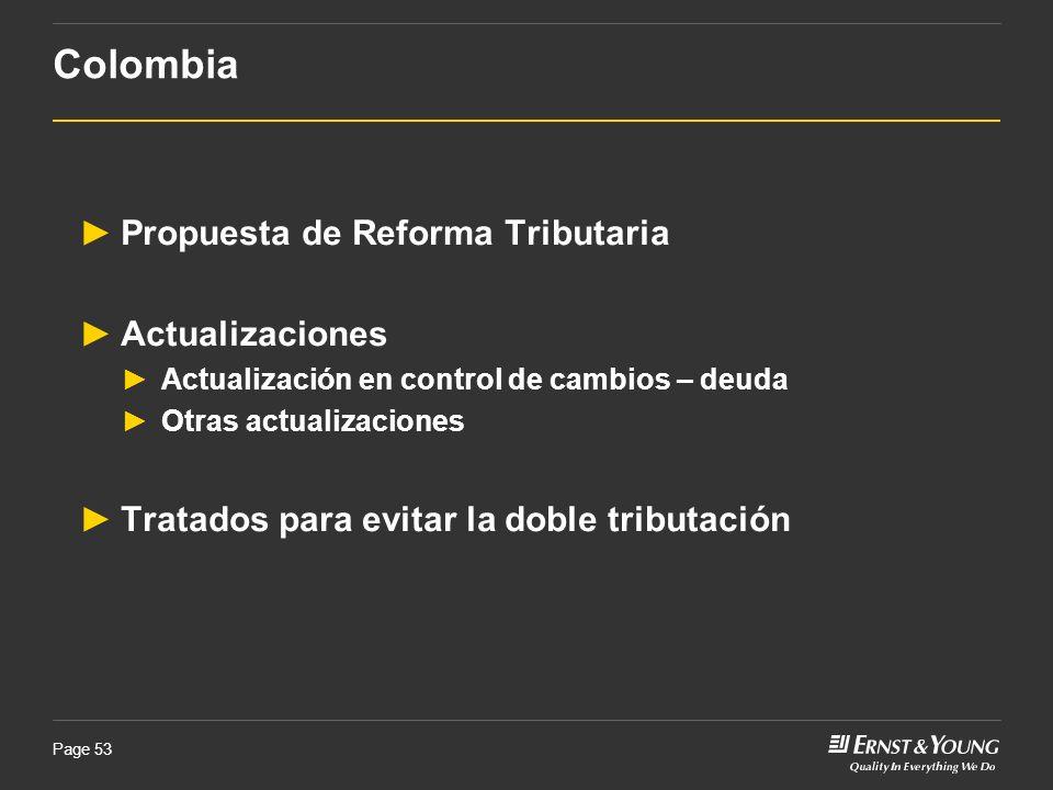 Colombia Propuesta de Reforma Tributaria Actualizaciones