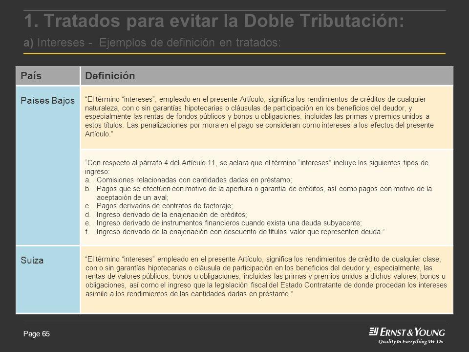 1. Tratados para evitar la Doble Tributación: a) Intereses - Ejemplos de definición en tratados: