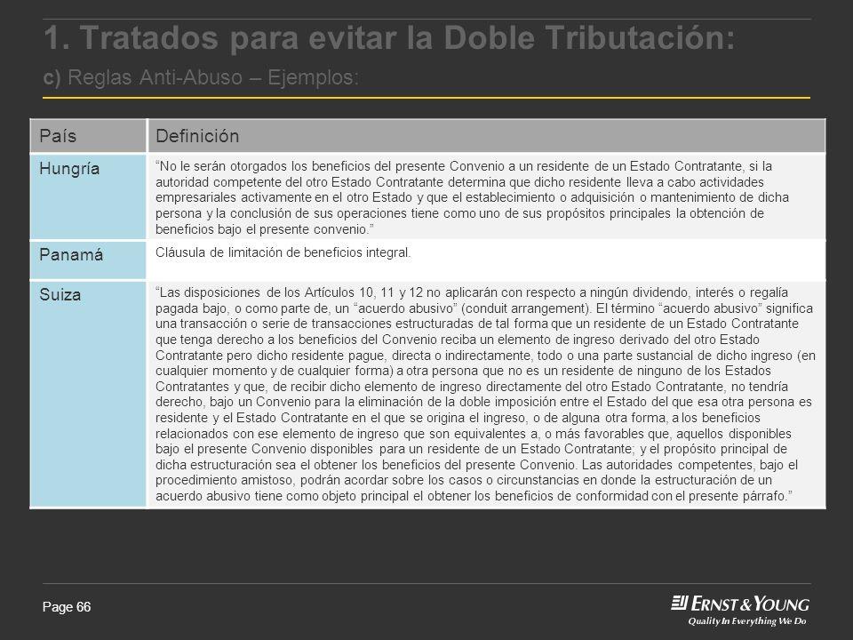 1. Tratados para evitar la Doble Tributación: c) Reglas Anti-Abuso – Ejemplos:
