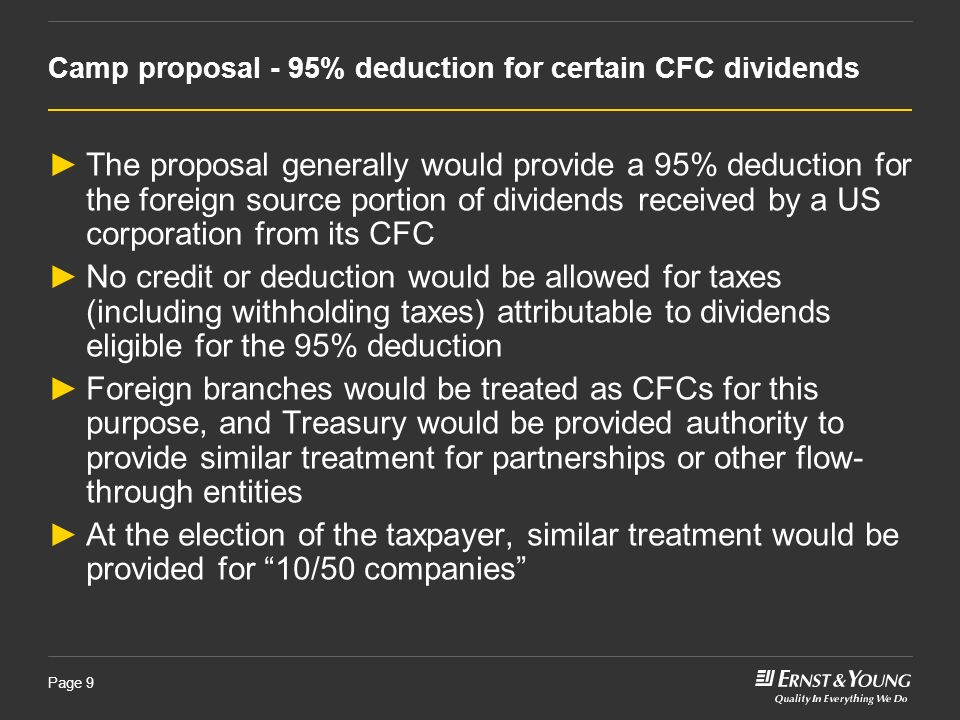 Camp proposal - 95% deduction for certain CFC dividends