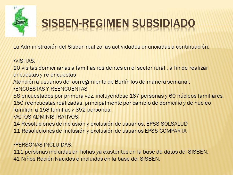 Sisben-regimen subsidiado