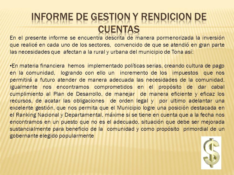 INFORME DE GESTION Y RENDICION DE CUENTAS