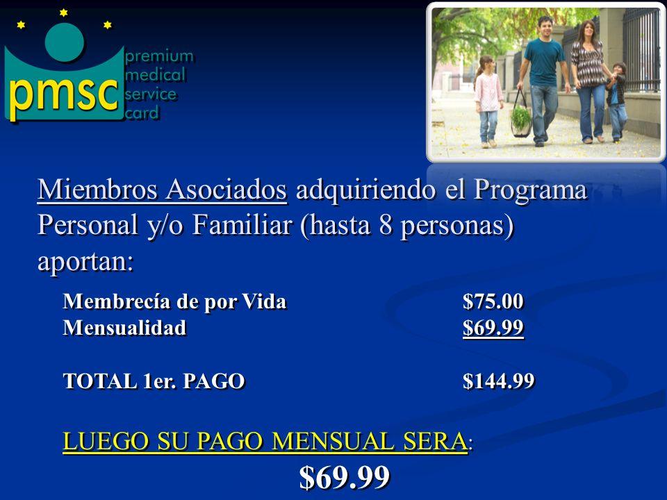 Miembros Asociados adquiriendo el Programa Personal y/o Familiar (hasta 8 personas) aportan: