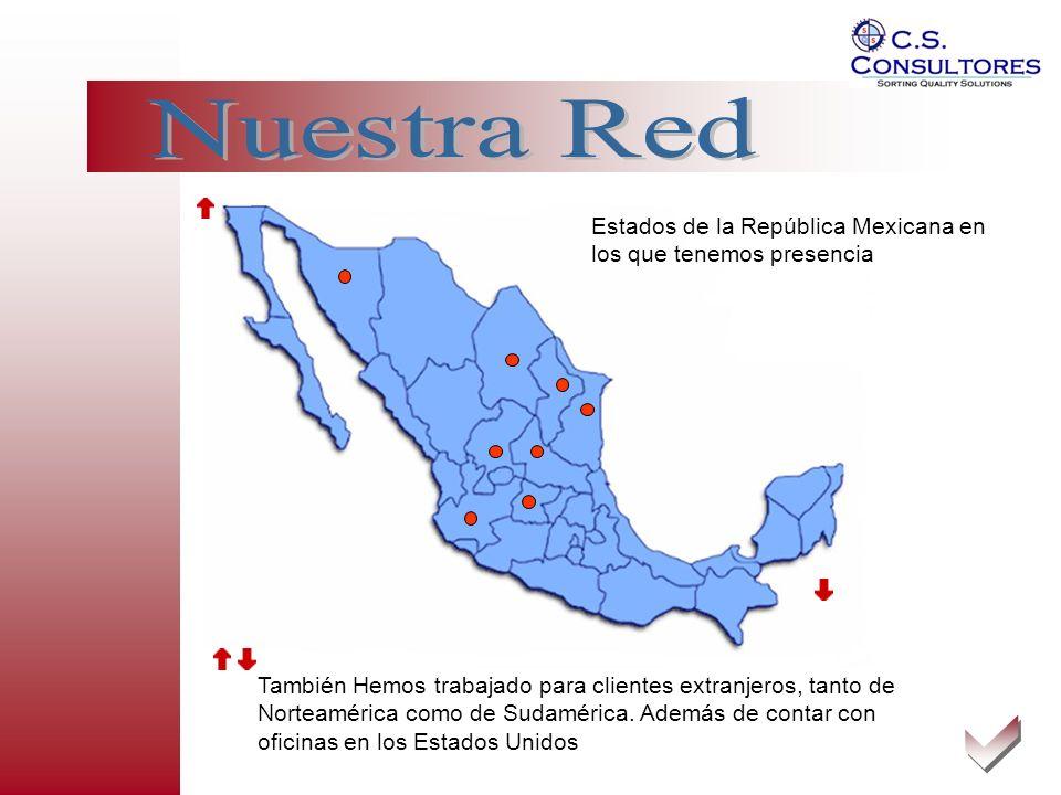 Nuestra Red Estados de la República Mexicana en los que tenemos presencia.