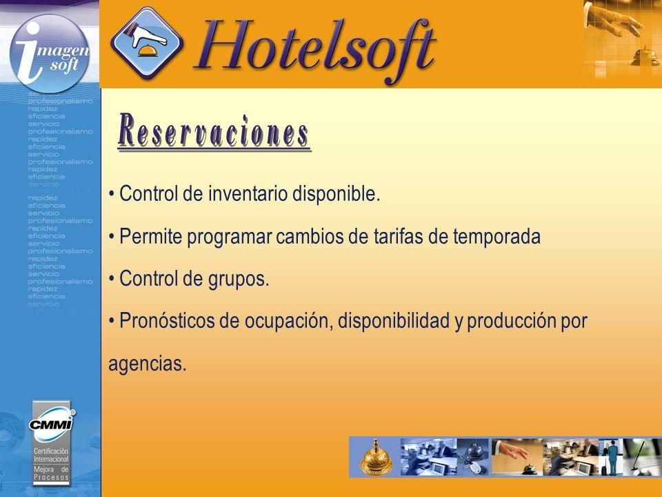 Reservaciones Control de inventario disponible.