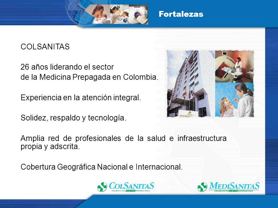 Fortalezas COLSANITAS. 26 años liderando el sector. de la Medicina Prepagada en Colombia. Experiencia en la atención integral.