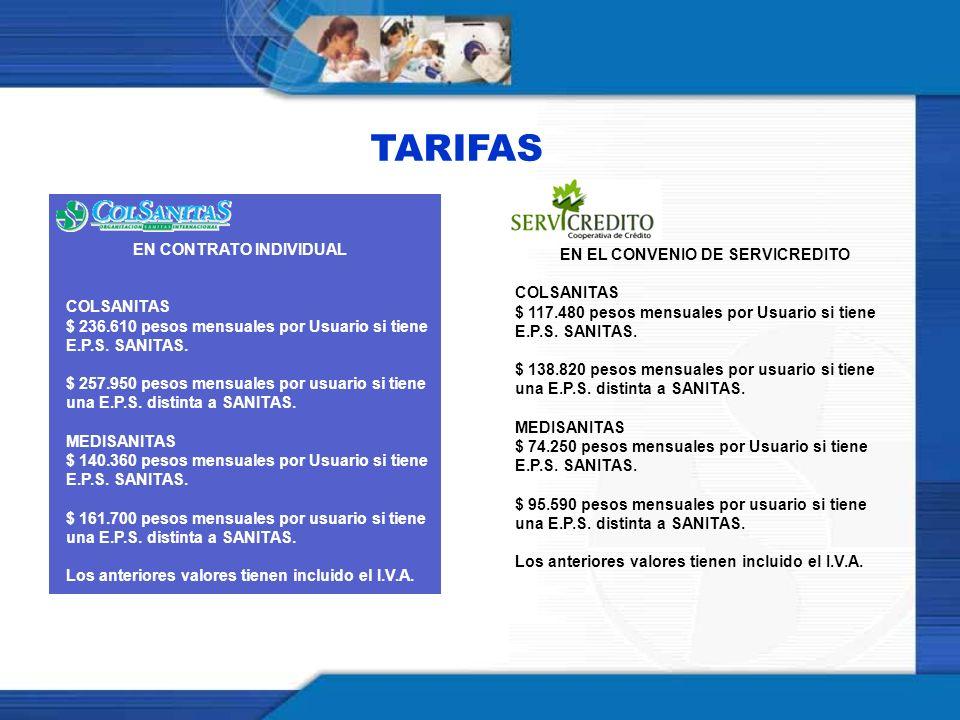 TARIFAS EN EL CONVENIO DE SERVICREDITO EN CONTRATO INDIVIDUAL