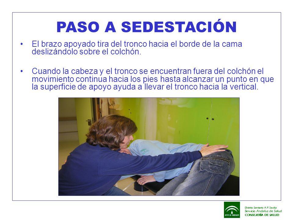 PASO A SEDESTACIÓN El brazo apoyado tira del tronco hacia el borde de la cama deslizándolo sobre el colchón.