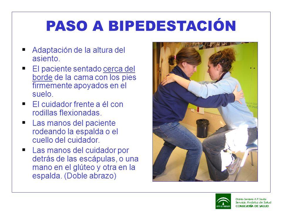 PASO A BIPEDESTACIÓN Adaptación de la altura del asiento.