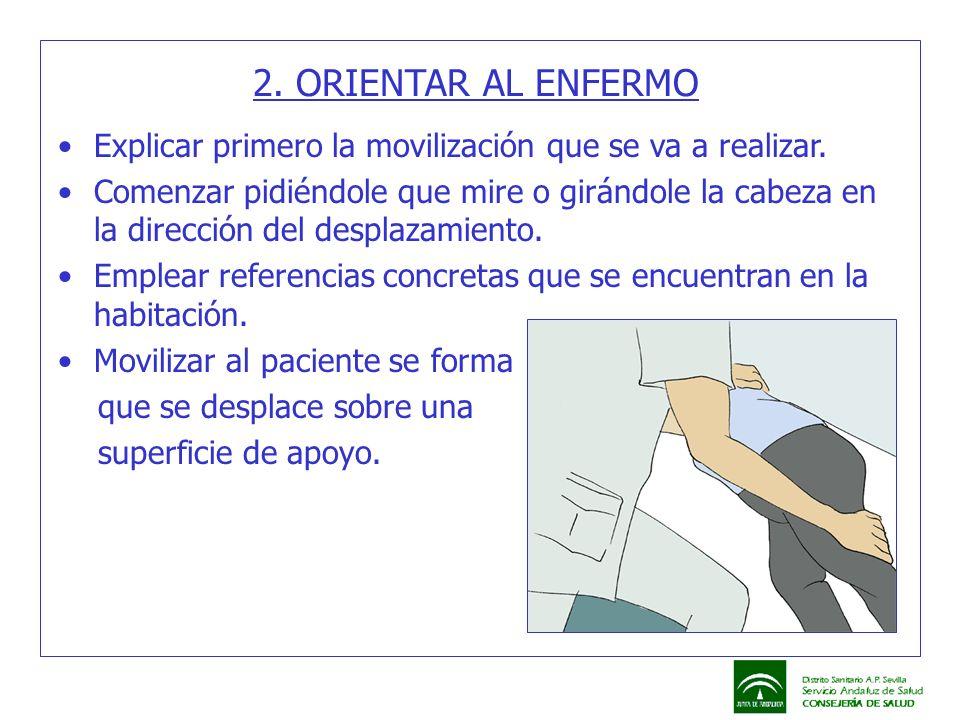 2. ORIENTAR AL ENFERMO Explicar primero la movilización que se va a realizar.