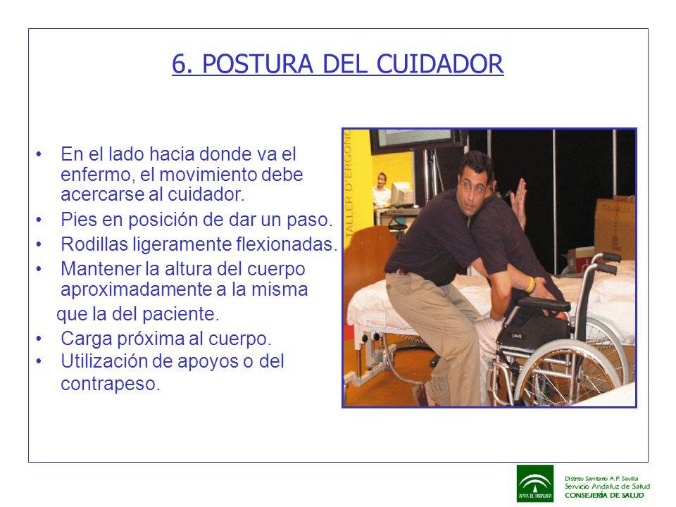 6. POSTURA DEL CUIDADOR En el lado hacia donde va el enfermo, el movimiento debe acercarse al cuidador.