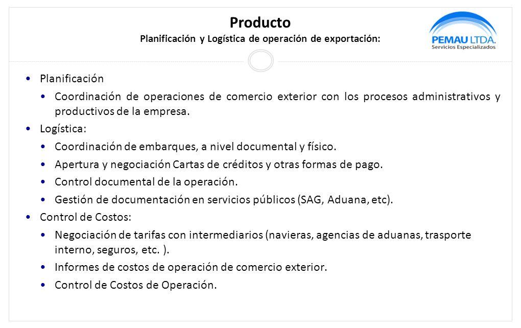 Producto Planificación y Logística de operación de exportación: