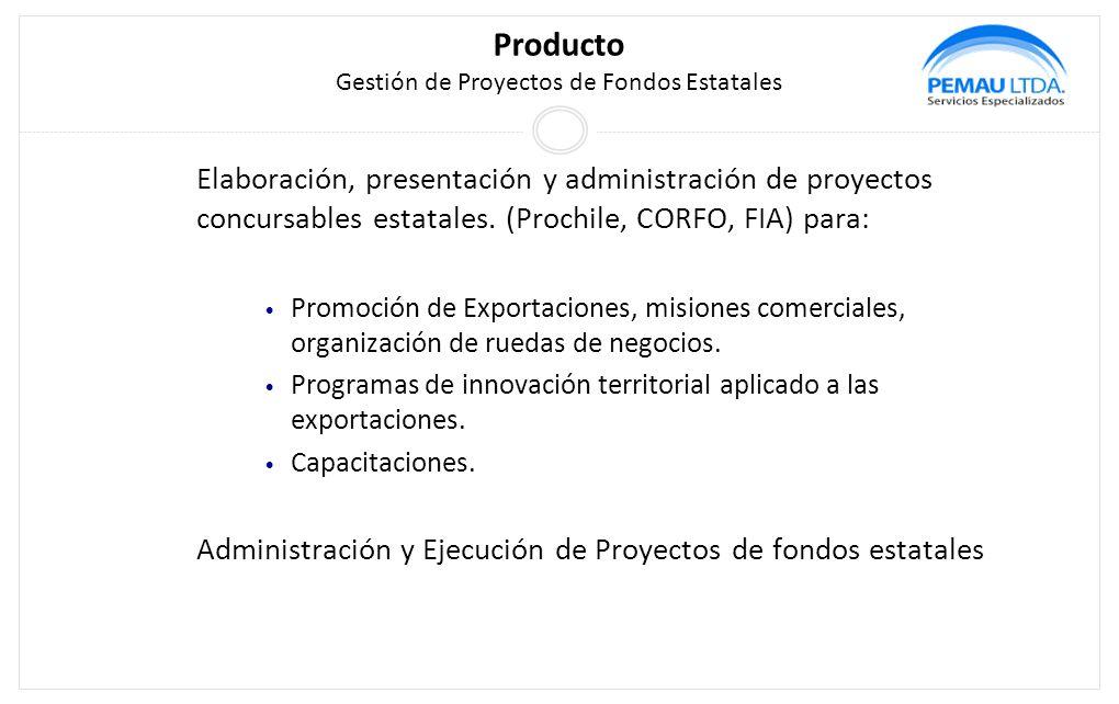 Producto Gestión de Proyectos de Fondos Estatales