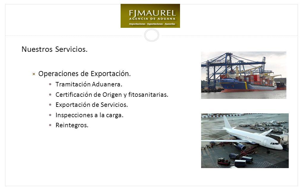 Nuestros Servicios. Operaciones de Exportación. Tramitación Aduanera.