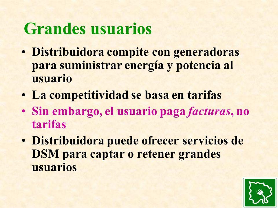 Grandes usuarios Distribuidora compite con generadoras para suministrar energía y potencia al usuario.