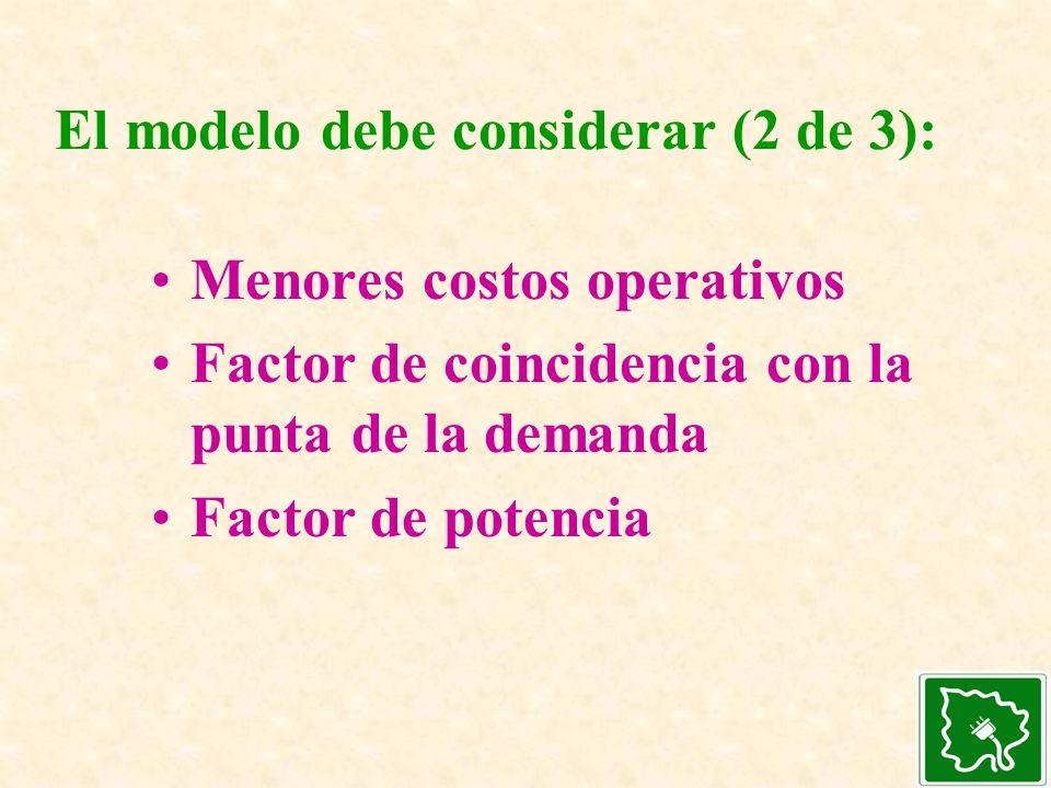 El modelo debe considerar (2 de 3):