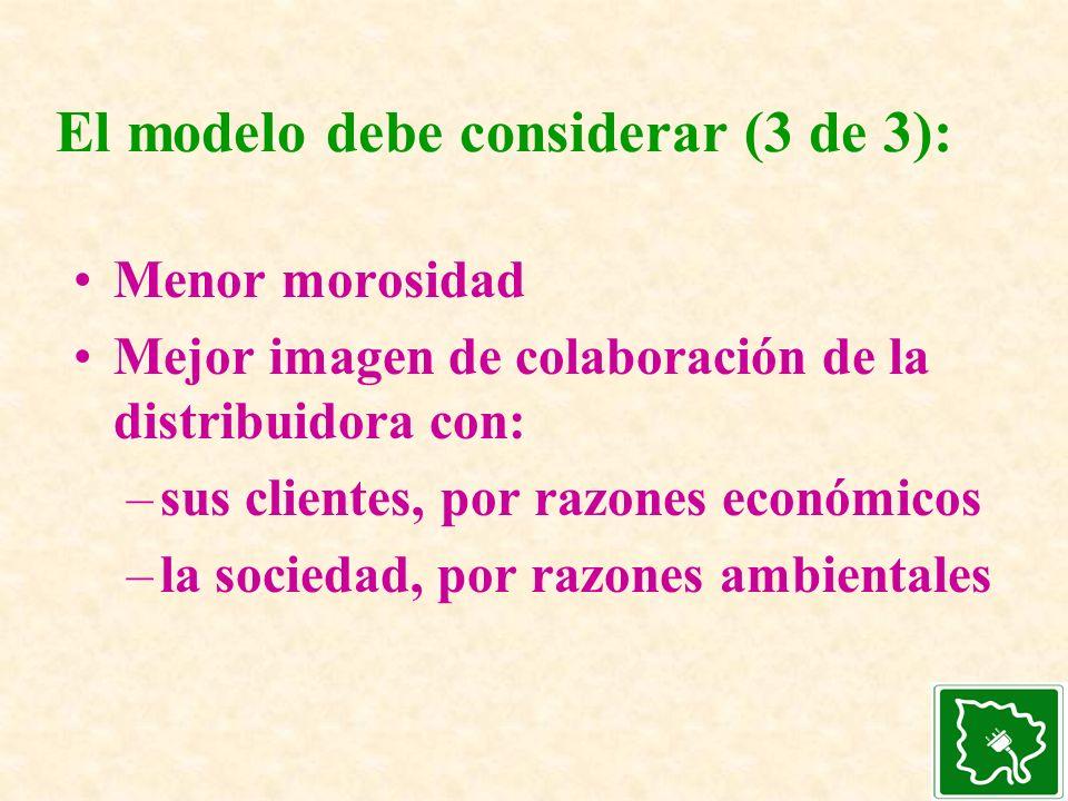 El modelo debe considerar (3 de 3):