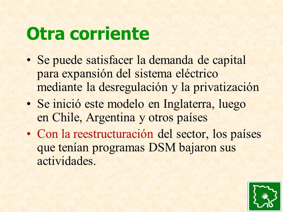 Otra corriente Se puede satisfacer la demanda de capital para expansión del sistema eléctrico mediante la desregulación y la privatización.