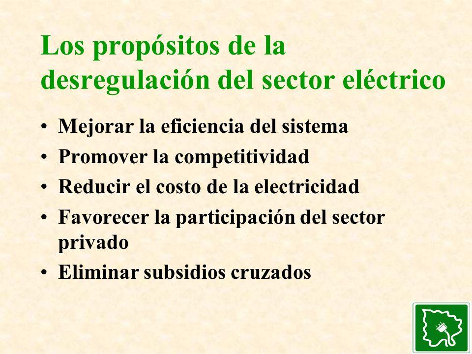 Los propósitos de la desregulación del sector eléctrico