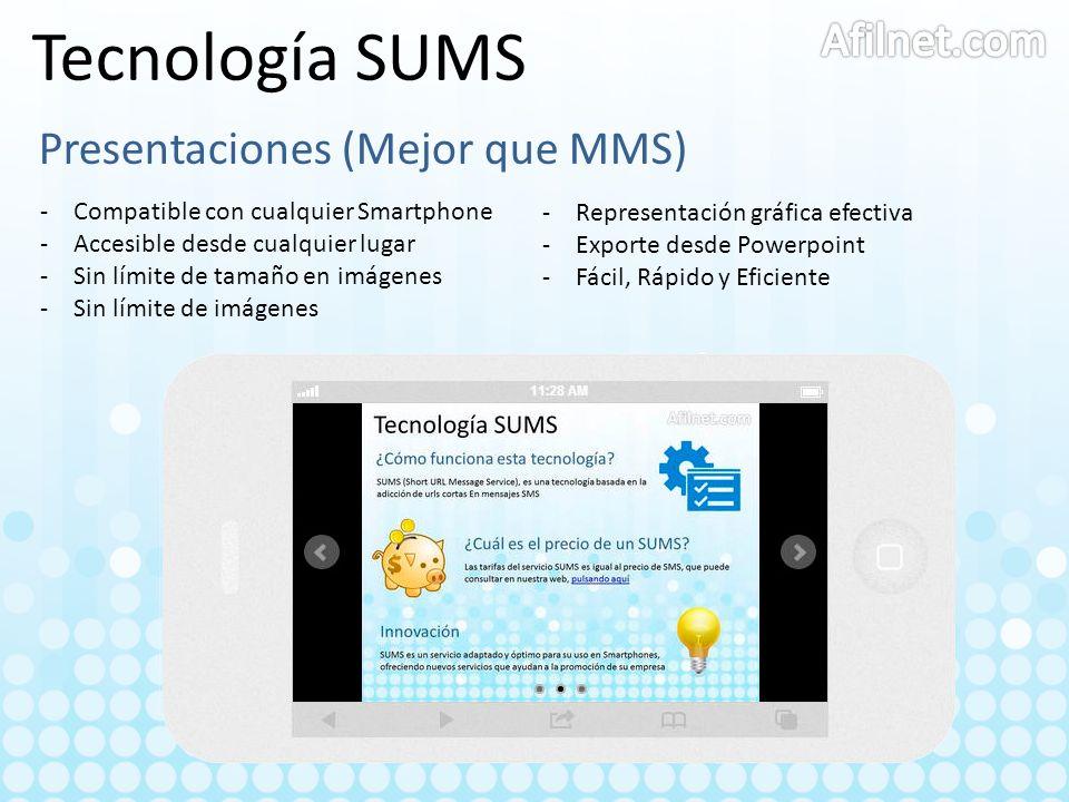 Tecnología SUMS Afilnet.com Presentaciones (Mejor que MMS)