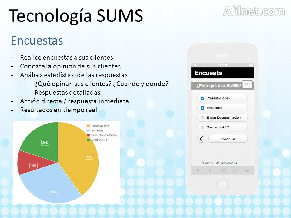 Tecnología SUMS Afilnet.com Encuestas Realice encuestas a sus clientes
