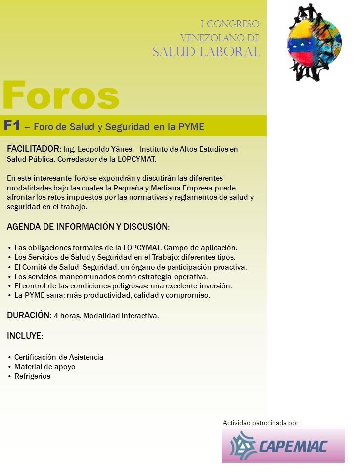 Foros F1 – Foro de Salud y Seguridad en la PYME