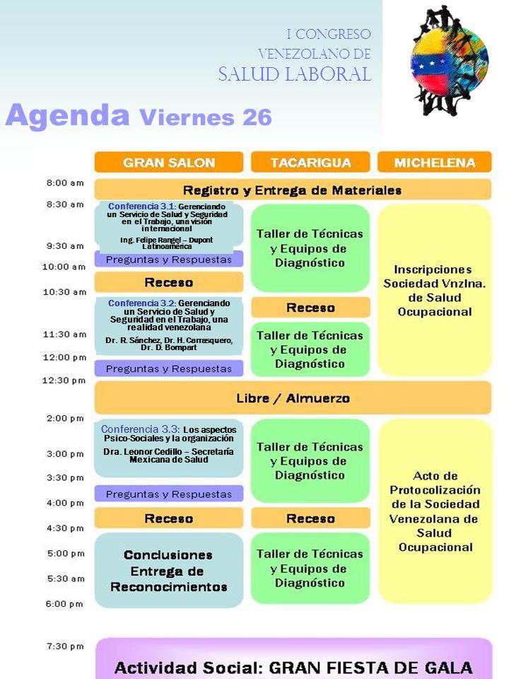 Agenda Viernes 26 I Congreso Venezolano de Salud Laboral