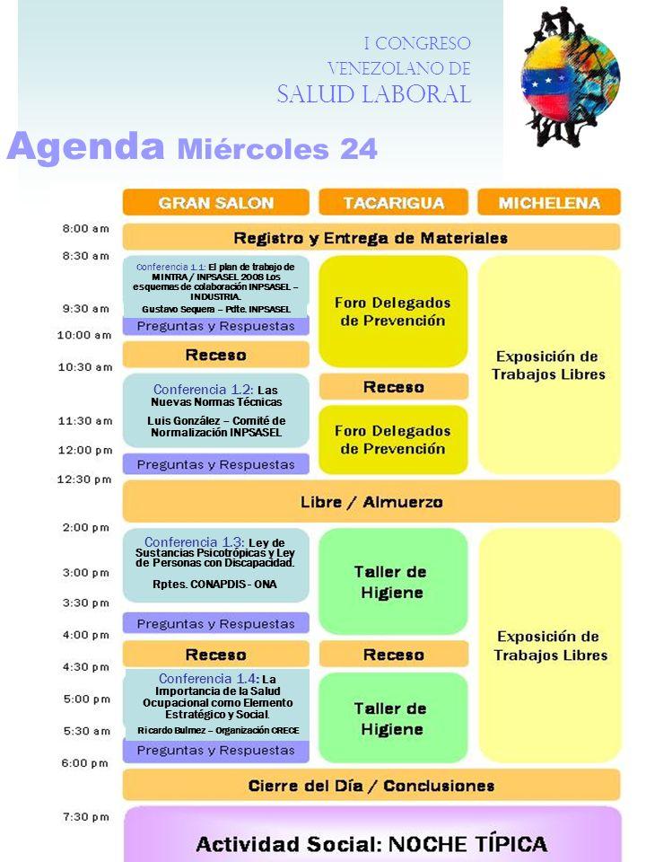 Agenda Miércoles 24 I Congreso Venezolano de Salud Laboral
