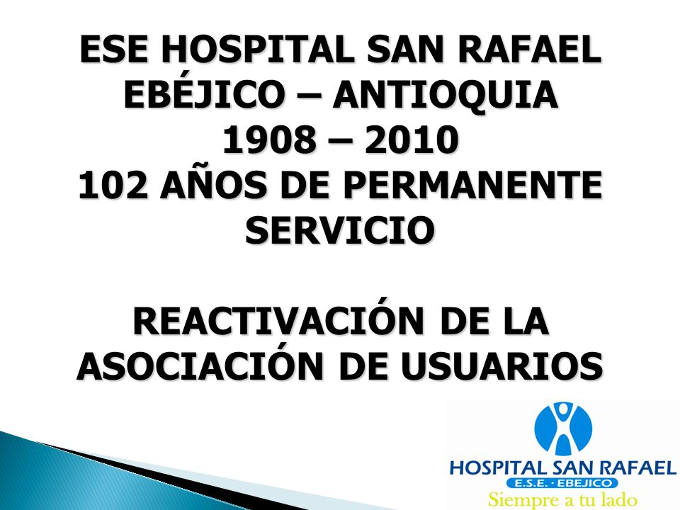 ESE HOSPITAL SAN RAFAEL EBÉJICO – ANTIOQUIA 1908 – 2010