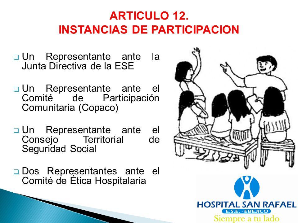 INSTANCIAS DE PARTICIPACION