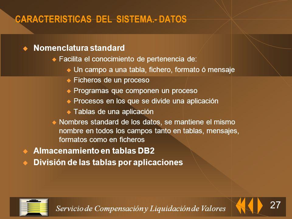 CARACTERISTICAS DEL SISTEMA.- DATOS