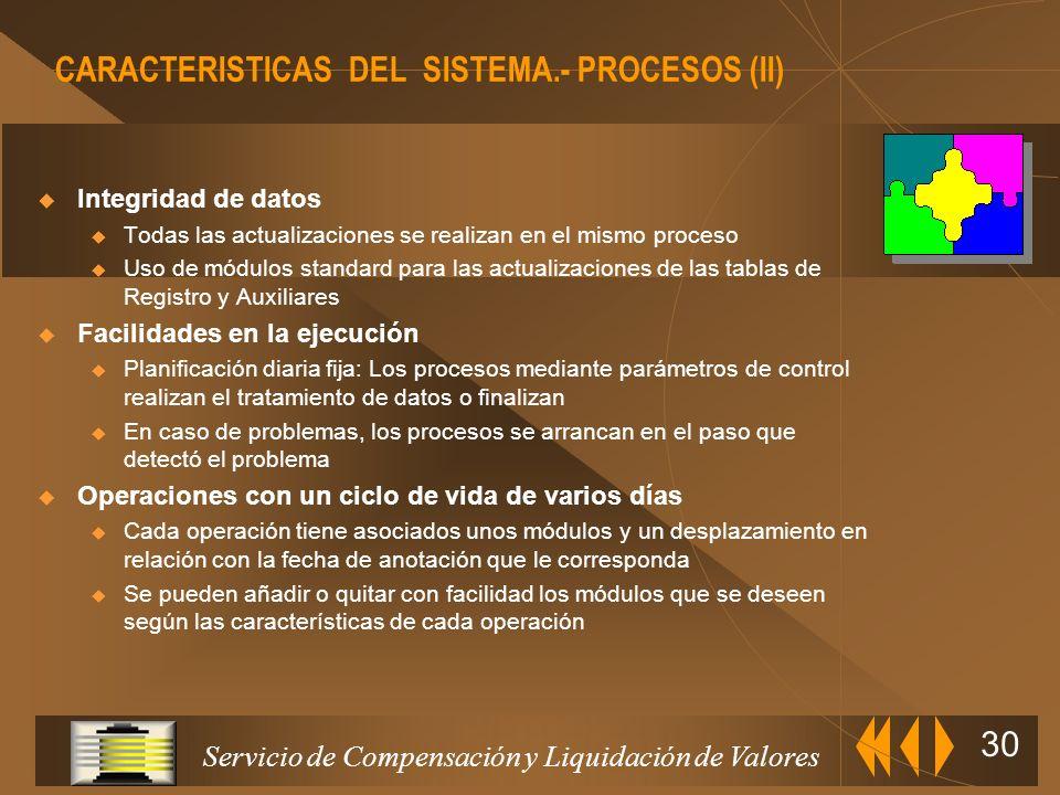CARACTERISTICAS DEL SISTEMA.- PROCESOS (II)