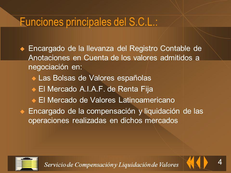 Funciones principales del S.C.L.: