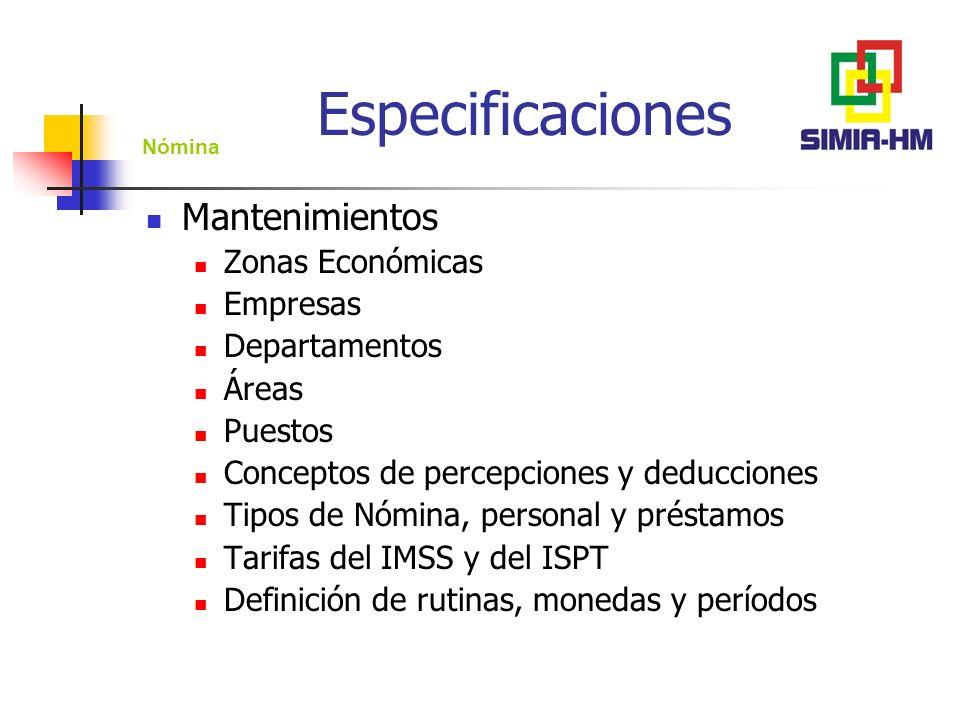 Especificaciones Mantenimientos Zonas Económicas Empresas