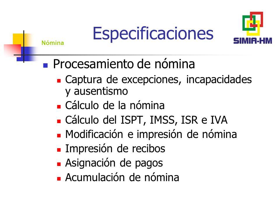 Especificaciones Procesamiento de nómina