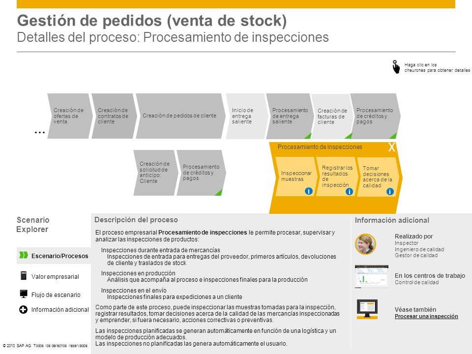 Gestión de pedidos (venta de stock) Detalles del proceso: Procesamiento de inspecciones