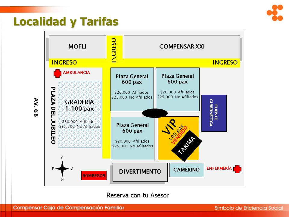 Localidad y Tarifas VIP Reserva con tu Asesor TARIMA MOFLI