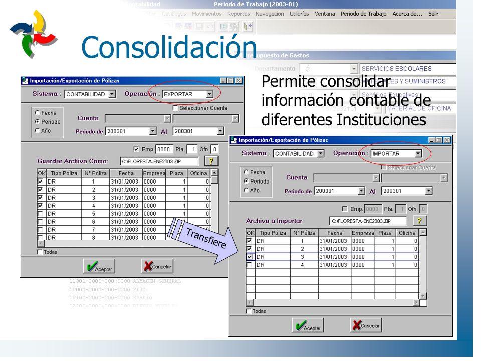 Consolidación Permite consolidar información contable de diferentes Instituciones Transfiere