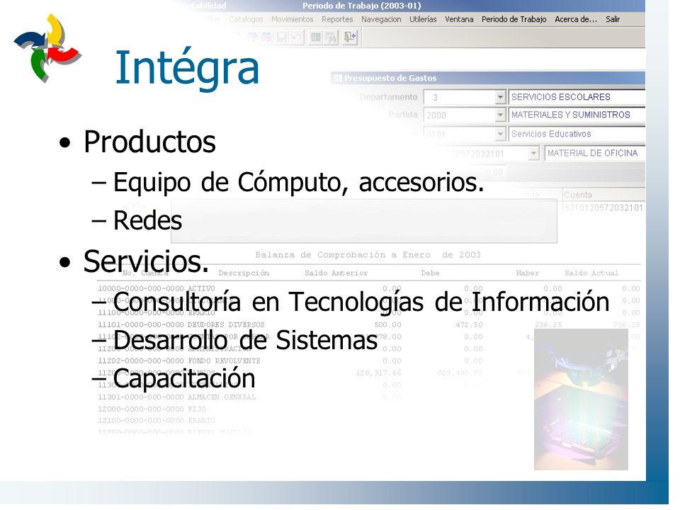 Intégra Productos Servicios. Equipo de Cómputo, accesorios. Redes