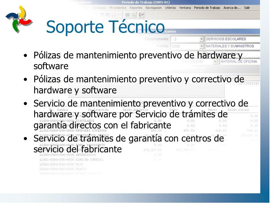 Soporte Técnico Pólizas de mantenimiento preventivo de hardware y software. Pólizas de mantenimiento preventivo y correctivo de hardware y software.