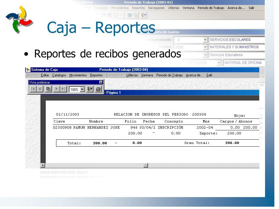 Caja – Reportes Reportes de recibos generados
